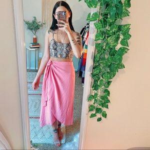 American Eagle Pink High Waisted Wrap Midi Skirt
